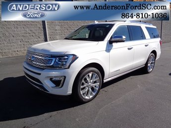 2019 White Metallic Ford Expedition Max Platinum EcoBoost 3.5L V6 GTDi DOHC 24V Twin Turbocharged Engine 4 Door SUV