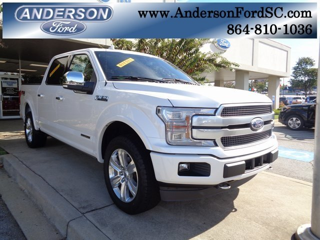 2018 White Metallic Ford F-150 Platinum 3.0L Diesel Turbocharged Engine Automatic 4X4