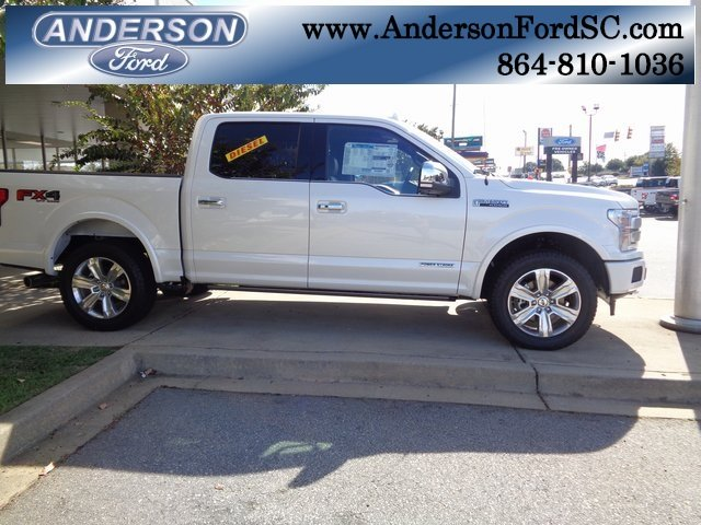 2018 White Metallic Ford F-150 Platinum 4 Door Truck 3.0L Diesel Turbocharged Engine 4X4