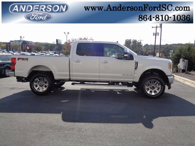 2019 White Ford Super Duty F-250 SRW Lariat Truck Power Stroke 6.7L V8 DI 32V OHV Turbodiesel Engine 4 Door Automatic