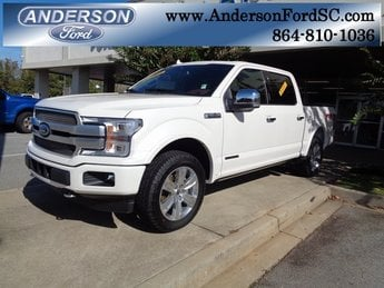 2018 White Metallic Ford F-150 Platinum 3.0L Diesel Turbocharged Engine Truck Automatic 4 Door 4X4