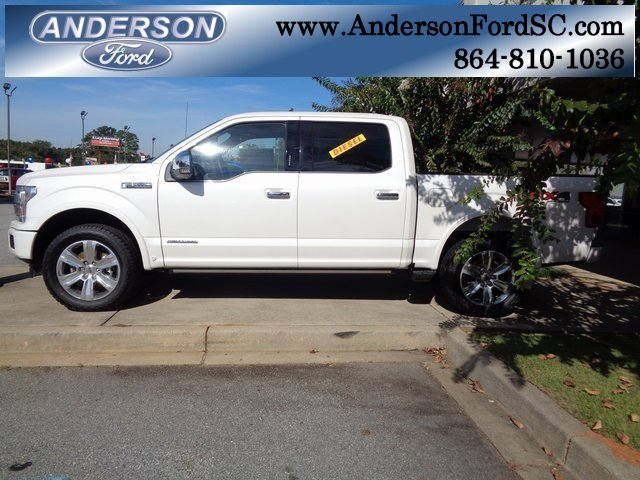 2018 White Metallic Ford F-150 Platinum 3.0L Diesel Turbocharged Engine 4X4 Automatic