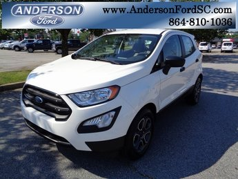 2018 Diamond White Ford EcoSport S FWD 4 Door SUV EcoBoost 1.0L I3 GTDi DOHC Turbocharged VCT Engine