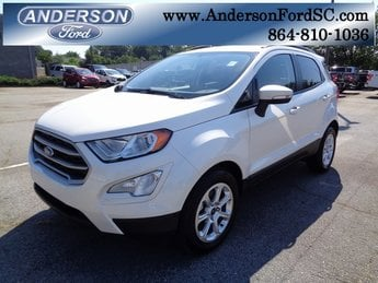 2018 White Platinum Clearcoat Metallic Ford EcoSport SE Automatic 4 Door EcoBoost 1.0L I3 GTDi DOHC Turbocharged VCT Engine FWD SUV