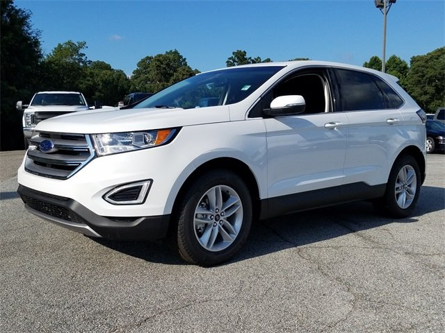 2018 Oxford White Ford Edge SEL SUV EcoBoost 2.0L I4 GTDi DOHC Turbocharged VCT Engine FWD 4 Door Automatic