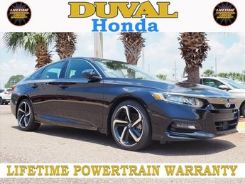 2018 Crystal Black Pearl Honda Accord Sport Automatic (CVT) I4 DOHC 16V Turbocharged Engine Sedan 4 Door FWD