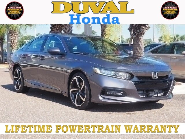2018 Modern Steel Metallic Honda Accord Sport 4 Door I4 DOHC 16V Turbocharged Engine Automatic (CVT)