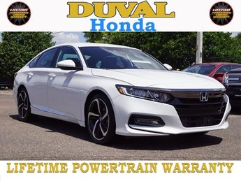 2018 Platinum White Pearl Honda Accord Sport I4 DOHC 16V Turbocharged Engine Automatic (CVT) Sedan