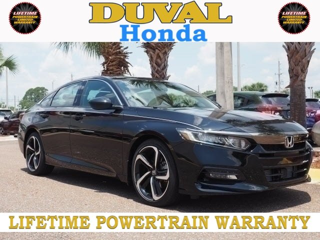 2018 Crystal Black Pearl Honda Accord Sport Automatic (CVT) FWD Sedan I4 DOHC 16V Turbocharged Engine 4 Door