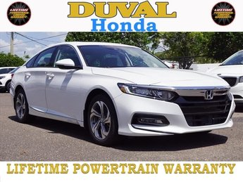 2018 Platinum White Pearl Honda Accord EX-L I4 DOHC 16V Turbocharged Engine FWD 4 Door Automatic (CVT) Sedan