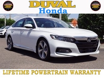 2018 Platinum White Pearl Honda Accord Touring I4 DOHC 16V Turbocharged Engine Automatic (CVT) 4 Door Sedan FWD