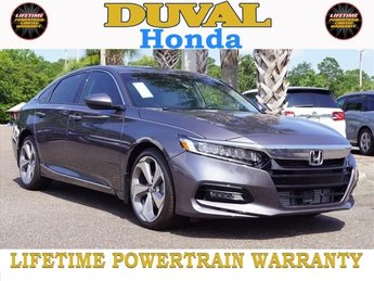 2018 Modern Steel Metallic Honda Accord Touring 2.0T 4 Door I4 DOHC 16V Turbocharged Engine FWD Sedan