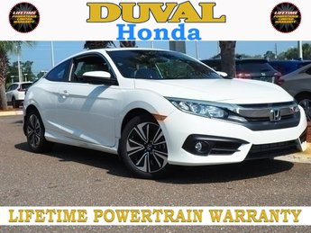 2018 White Orchid Pearl Honda Civic EX-T FWD 2 Door 1.5L I-4 DI DOHC Turbocharged Engine Automatic (CVT)