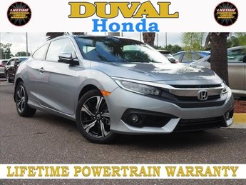 2018 Lunar Silver Metallic Honda Civic Touring Coupe Automatic (CVT) FWD 1.5L I-4 DI DOHC Turbocharged Engine