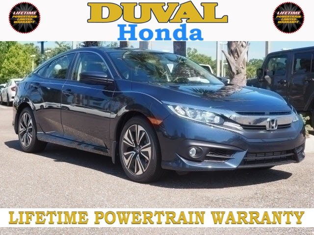 2018 Cosmic Blue Metallic Honda Civic EX-T Automatic (CVT) FWD 4 Door 1.5L I-4 DI DOHC Turbocharged Engine Sedan