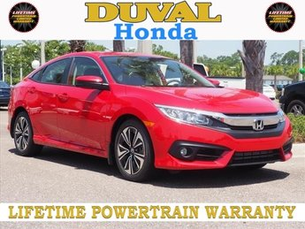 2018 Rallye Red Honda Civic EX-T 1.5L I-4 DI DOHC Turbocharged Engine Automatic (CVT) Sedan 4 Door FWD