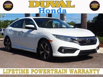 2018 White Orchid Pearl Honda Civic Touring 1.5L I-4 DI DOHC Turbocharged Engine Sedan Automatic (CVT) 4 Door FWD