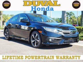 2018 Crystal Black Pearl Honda Civic Touring 1.5L I-4 DI DOHC Turbocharged Engine Automatic (CVT) 4 Door