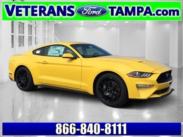 2018 Triple Yellow Tri-Coat Ford Mustang EcoBoost Premium Coupe EcoBoost 2.3L I4 GTDi DOHC Turbocharged VCT Engine RWD