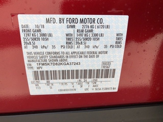 2019 Ruby Red Metallic Tinted Clearcoat Ford Explorer XLT Automatic Regular Unleaded V-6 3.5 L/213 Engine 4 Door FWD SUV