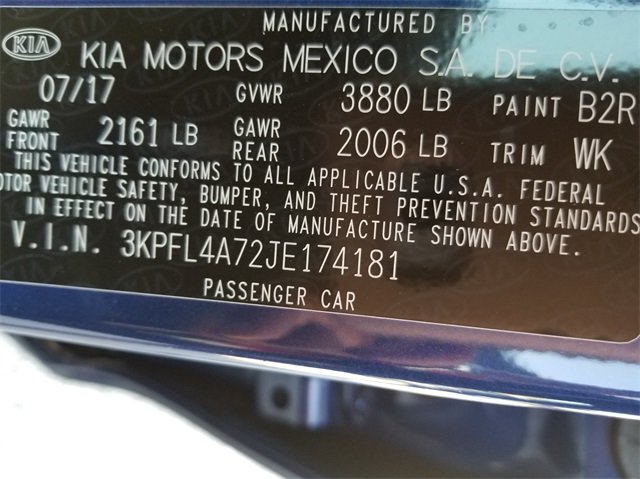 2018 Kia Forte S Sedan 4 Door 2.0L I4 DOHC Dual CVVT Engine Automatic