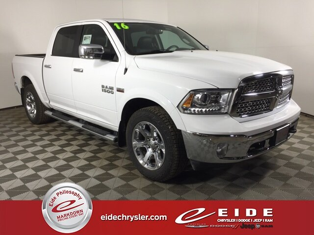 2016 Bright White Clearcoat Ram 1500 Laramie 4 Door HEMI 5.7L V8 Multi Displacement VVT Engine Automatic 4X4 Truck