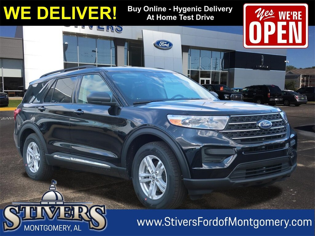2021 Agate Black Metallic Ford Explorer XLT Automatic 2.3L EcoBoost I-4 Engine SUV RWD 4 Door