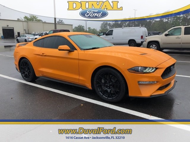 2018 Orange Fury Metallic Tri-Coat Ford Mustang EcoBoost 2.3L I4 GTDi DOHC Turbocharged VCT Engine 2 Door RWD