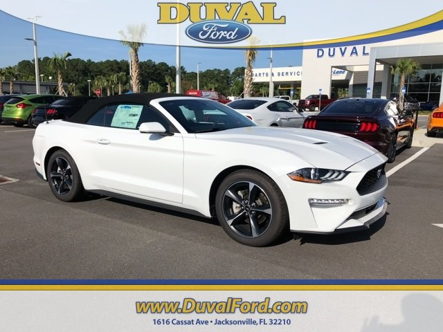 2018 Oxford White Ford Mustang EcoBoost 2 Door Automatic Convertible EcoBoost 2.3L I4 GTDi DOHC Turbocharged VCT Engine RWD