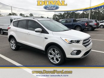 2019 White Platinum Clearcoat Metallic Ford Escape Titanium FWD SUV EcoBoost 2.0L I4 GTDi DOHC Turbocharged VCT Engine