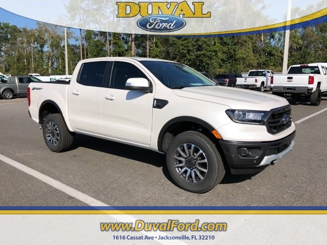 2019 White Platinum Clearcoat Ford Ranger Lariat Automatic EcoBoost 2.3L I4 GTDi DOHC Turbocharged VCT Engine 4 Door Truck