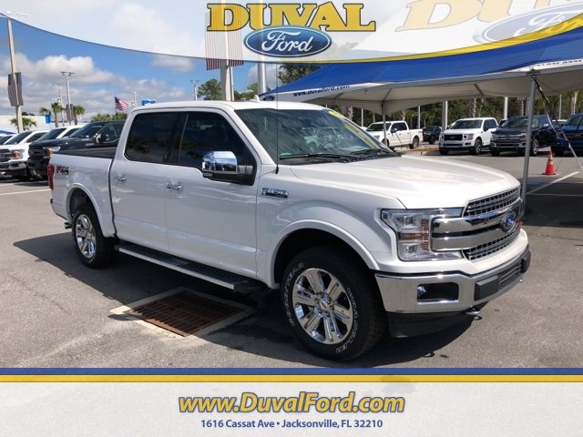 2018 White Metallic Ford F-150 Lariat 4 Door 4X4 5.0L V8 Ti-VCT Engine Truck Automatic