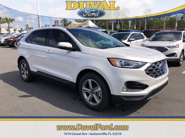 2019 White Platinum Clearcoat Metallic Ford Edge SEL SUV 2.0L Engine 4 Door Automatic