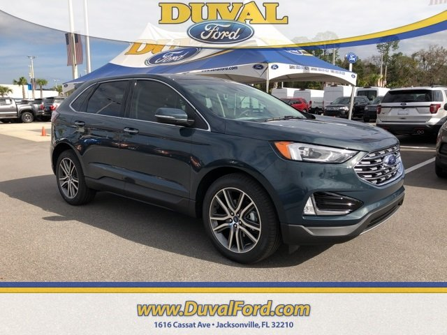 2019 Baltic Sea Green Metallic Ford Edge Titanium FWD 2.0L Engine SUV