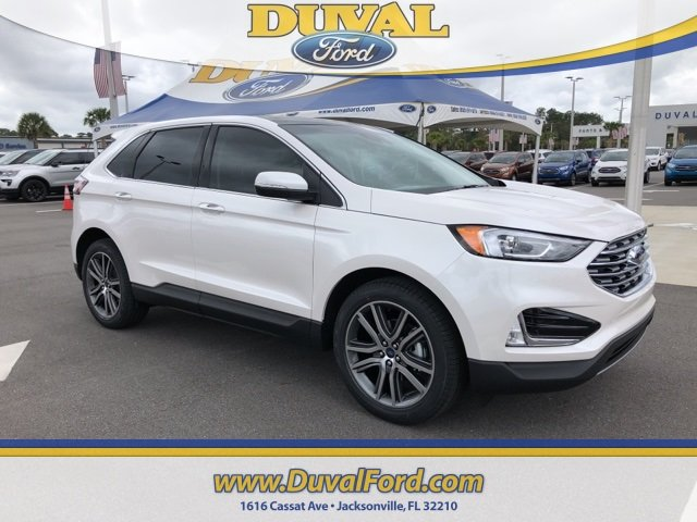 2019 White Platinum Clearcoat Metallic Ford Edge Titanium 2.0L Engine 4 Door FWD