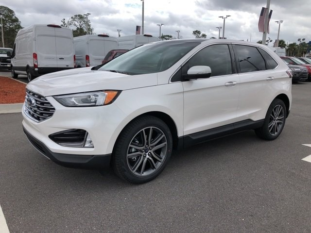 2019 White Platinum Clearcoat Metallic Ford Edge Titanium Automatic FWD SUV 4 Door 2.0L Engine