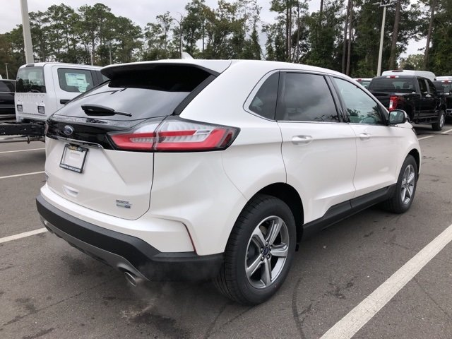 2019 White Platinum Clearcoat Metallic Ford Edge SEL 4 Door Automatic 2.0L Engine AWD SUV