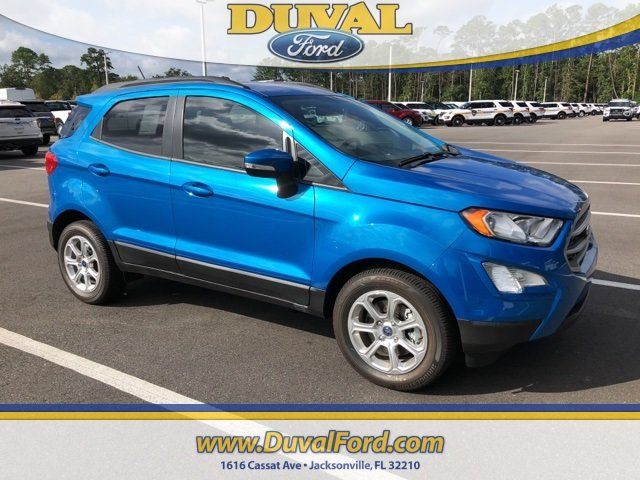2018 Blue Candy Metallic Tinted Clearcoat Ford EcoSport SE EcoBoost 1.0L I3 GTDi DOHC Turbocharged VCT Engine 4 Door SUV FWD Automatic