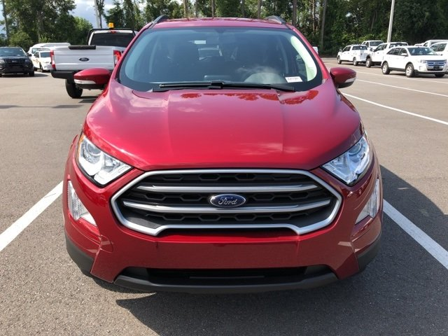 2018 Ruby Red Metallic Tinted Clearcoat Ford EcoSport SE 4 Door EcoBoost 1.0L I3 GTDi DOHC Turbocharged VCT Engine Automatic SUV