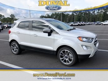 2018 White Platinum Clearcoat Metallic Ford EcoSport Titanium EcoBoost 1.0L I3 GTDi DOHC Turbocharged VCT Engine FWD SUV Automatic 4 Door