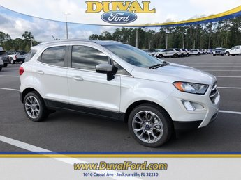2018 White Platinum Clearcoat Metallic Ford EcoSport Titanium Automatic SUV EcoBoost 1.0L I3 GTDi DOHC Turbocharged VCT Engine FWD 4 Door