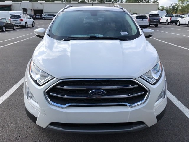 2018 White Platinum Clearcoat Metallic Ford EcoSport Titanium EcoBoost 1.0L I3 GTDi DOHC Turbocharged VCT Engine 4 Door Automatic SUV FWD