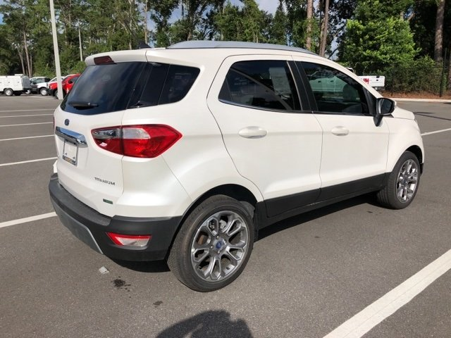 2018 White Platinum Clearcoat Metallic Ford EcoSport Titanium EcoBoost 1.0L I3 GTDi DOHC Turbocharged VCT Engine 4 Door FWD SUV Automatic