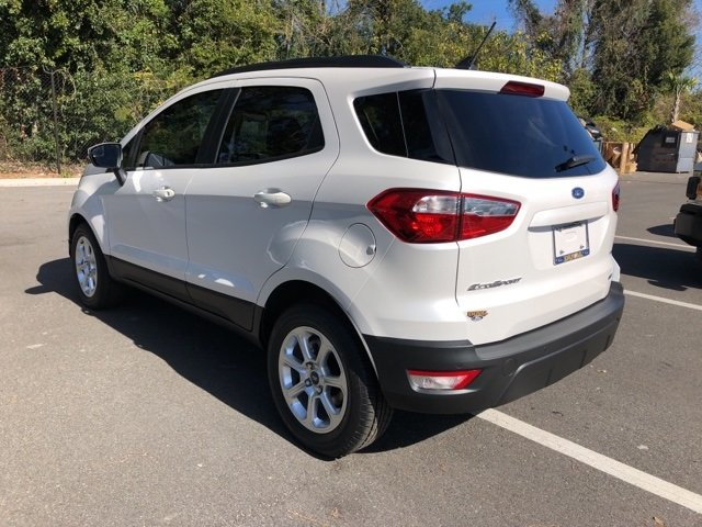 2019 White Platinum Clearcoat Metallic Ford EcoSport SE SUV FWD EcoBoost 1.0L I3 GTDi DOHC Turbocharged VCT Engine