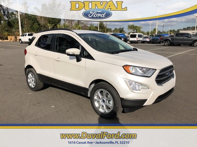 2019 White Platinum Clearcoat Metallic Ford EcoSport SE Automatic FWD 4 Door EcoBoost 1.0L I3 GTDi DOHC Turbocharged VCT Engine