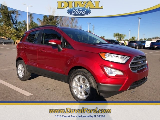 2019 Ruby Red Metallic Tinted Clearcoat Ford EcoSport SE 4 Door Automatic SUV FWD EcoBoost 1.0L I3 GTDi DOHC Turbocharged VCT Engine