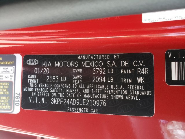 2020 Kia Forte LXS FWD Regular Unleaded I-4 2.0 L/122 Engine Sedan 4 Door Automatic (CVT)