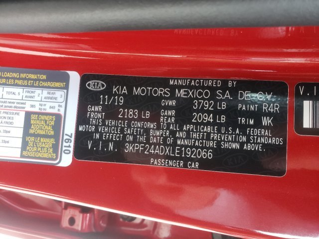 2020 Currant Red Kia Forte LXS 4 Door FWD Regular Unleaded I-4 2.0 L/122 Engine Automatic