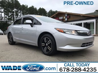 2012 Alabaster Silver Metallic Honda Civic Sdn LX 4 Door Gas I4 1.8L/110 Engine Sedan Manual