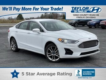2019 Oxford White Ford Fusion SEL Automatic FWD 4 Door Car